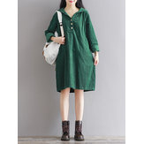 Casual Women Pure Color Hooded Corduroy Dress