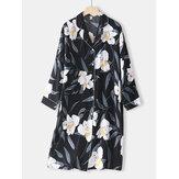 Chemise de nuit confortable à manches longues à col à revers et imprimé floral pour femme avec reliure contrastée