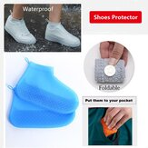 Women Waterproof Non-slip Thick Bottom Foldable Portable Wear-resistant Reausable Shoe Covers