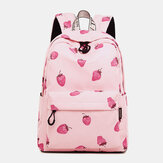 Strawberry Pattern Light Weight School Bookbag 15.6'' Laptop Backpack Rucksack Daypack