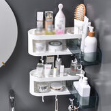 Rotatable Bathroom Organizer Wall Mounted Kitchen Storage Shelf Shower Holder