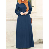 Women Solid Denim Button Down Elastic Cuffs Kaftan Loose Maxi Dresses