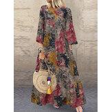 Frauen Baumwolle Vintage Blumendruck Seitentaschen 3/4 Ärmel Maxikleider