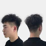 Yakışıklı Erkekler İnsan Saç Peruk İz Olmadan Hafif Nefes Alabilir Yıkanabilir Kısa Kıvırcık Peruk