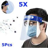 5pcs transparent réglable bouclier facial complet en plastique anti-buée anti-broche masque de protection