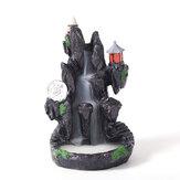 Censer portaconi per bruciatore di incenso con fumo a cascata in montagna in ceramica con riflusso a LED