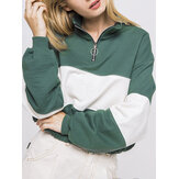 Women Patchwork Pullover Half Zipper Front Long Sleeve Hoodies