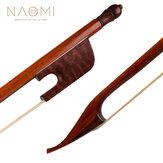 NAOMI Arco per violino / violino professionale 4/4 Arco in legno di serpente Stile barocco Rana in legno di serpente Mongolia bianca Crine di cavallo Ben equilibrato