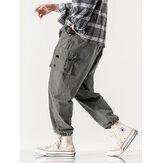 Hombre Diseño Multi bolsillo cintura media 100% algodón color sólido Carga Pantalones