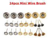 24pcs Mini Wire Stahl Messing Pinsel Set Polieren Pinsel Cup Räder für Rotary Tool