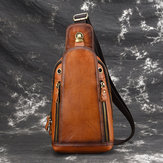 Men Brushed Vintage Genuine Leather Chest Bag Shoulder Bag