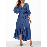 Wanita Denim Irregular Ruffle Hem Puff Sleeve Belted V-Neck Midi Dress