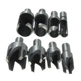 8pcs Hout Plug Cutter Rechte / Tapered Claw Type Boor Bit Set