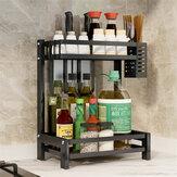 Przeciwpoślizgowy regał na przyprawy 2/3 poziomu Półka do przechowywania ze stali nierdzewnej Organizer Uchwyt Stojak kuchenny