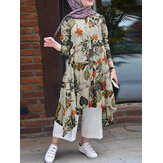 Women Cotton Floral Print Irregular Hem Retro Loose Dress Kaftan Tunic
