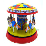 Classic Vintage Clockwork Wind Up  Merry-Go-Round Children Kids Tdi Toys With Key