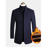 Mens Single-Breasted Woolen Thick Warm Pocket Long Sleeve Business Trench Coats