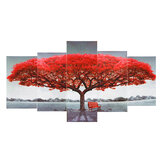 5Pcs Red Tree Wall Decorative Paintings Canvas Print Art Pictures Frameless Wall Hanging Decorations for Home Office