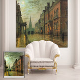PAG Roller Blind Street Scene Roller Shutters Print Painting Background Wall Decor Window Curtain
