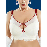 J Cup Plus Size إدفع Up Lined Lined Gather Full Cup Red Trim Soft Underwire Lace Hollow Bra