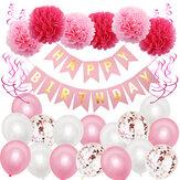 Zadowolony urodziny baner dekoracji Trznadel balony tło