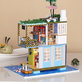 iiecreate K-038 Doll House DIY Sea Post Station Miniature Furnish With Cover Music Movement Gift Decor Toys