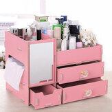 Armazenamento de cosméticos Caixa Maquiagem Organizador Gaveta Área de trabalho Diversos recipiente com espelho Unhas Polonês Batom Armazenamento Caixa Jóias Caso