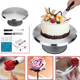 Cake Turntable Aluminum Cake Revolving Stand Holder Cake Baking Decor Tools Set