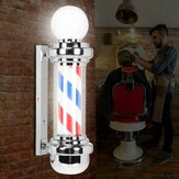 LED Barber Shop Pole Red White Blue Stripes Rotating Light Sign Hair Salon Lamp