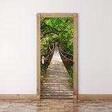 200×77センチ3dウッドブリッジpvc自己接着ドアウォールステッカーリビングルーム壁画森林橋の装飾