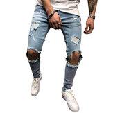 メンズデニムパンツ穴スリムファッションミッドライズジーンズ