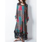 Retro Kadın Rastgele Baskılı Patchwork Boho Maxi Elbise