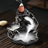 Backflow Incense Cone Burner Holder Ceramic Lotus Stream Fragrant Smoke Backflow Home Censer Decor