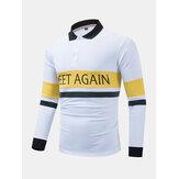Camisas de golfe de mangas compridas casuais com contraste masculino em patchwork 100% algodão