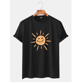 Mens Cartoon Sun Print Round Neck Casual Short Sleeve T-Shirts
