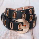 Women PU Leather 4 Color Metal Hallow Out Fashion Ladies Belts
