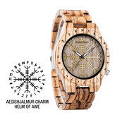 BOBO BURUNG T16 Hardlex Glass Creative Watch Zebra Ebony Band Kayu Kuarsa Menonton