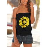 Original              Sunflower Print Strapless Sleeveless Summer Casual Cami For Women