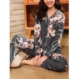 Kadınlar Çiçek Baskı Revere Yaka Uzun Kollu Düğme Üstleri Pantolon Ev Rahat Pijama Takımı