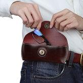 Mężczyźni Prawdziwej skóry Retro łatwe do przenoszenia okulary przeciwsłoneczne worek do przechowywania saszetka na pas