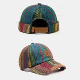 2ピース多色ぬいぐるみSoft生地ストライプパターンカジュアルファッション暖かいビーニー家主キャップスカルキャップ野球帽男性