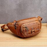 Women Solid Rivet Vintage Crossbody Bag Chest Bag Shoulder Bag
