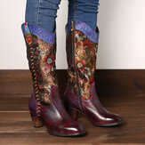 SOCOFY Retro Sun Flower Handmade Genuine Leather Stitching Mid Calf Western Boots