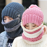 Women Knitted Winter Beanie Hat Collar Scarf Set