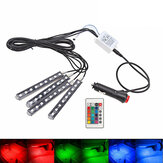 Remote Control Car RGB LED Interior Decorative Floor Lights Atmosphere Strip Lamp 4PCS