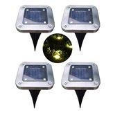 Solar Power 4 LED Buried Light Ground Lamp Cool/Warm White Outdoor Path Garden Decking Underground Lamp
