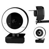 Bakeey V15 1080P HD USB2.0 Webcam Conference Live Mise au point manuelle Fill-In Light Macbook Ordinateur Caméra intégrée Réduction du bruit Micro