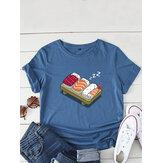 Женская футболка с короткими рукавами и круглым вырезом с принтом для суши и сна с героями мультфильмов