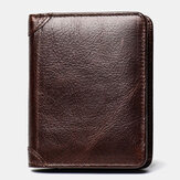 Men Genuine Leather Retro RFID Anti-theft Wax Cowhide Multi-slot Card Holder Wallet