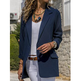 Frauen Herbst Langarm Büro Casual Fit Turn-Down Kragen Blazer